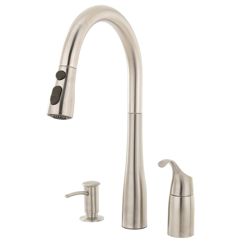 kohler simplice single handle pull down sprayer kitchen faucet in vibrant stainless - Kitchen Faucet Home Depot