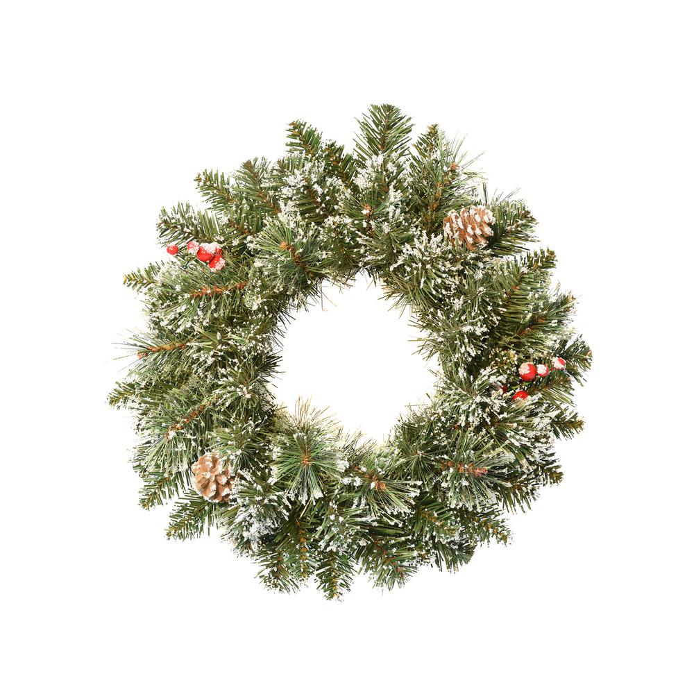 Astella 18 In Christmas Wreath With Snow Cashmere Mix Pine 72 Tips