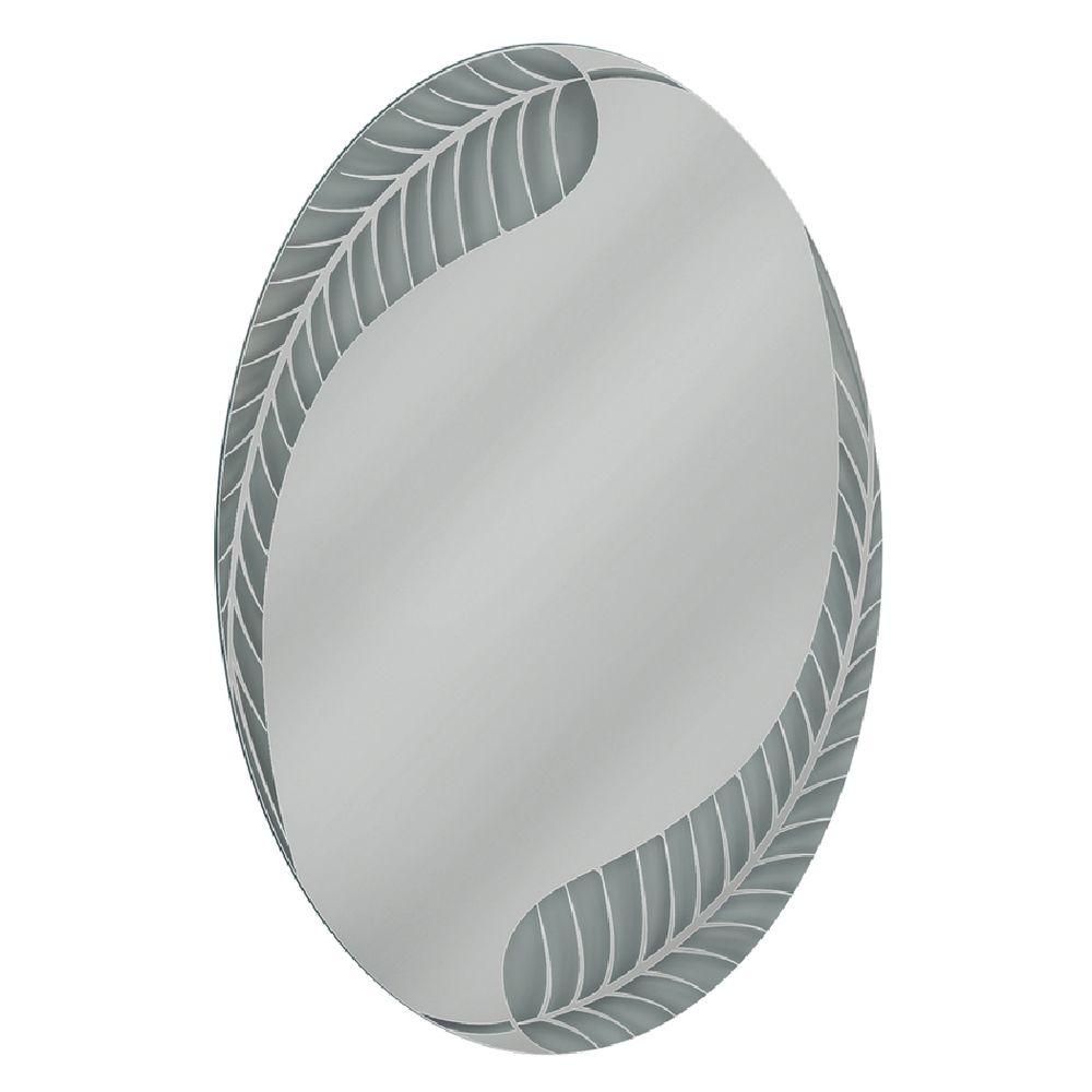 Superbe Deco Mirror 24 In. W X 36 In. H Palm Leaf Oval Mirror