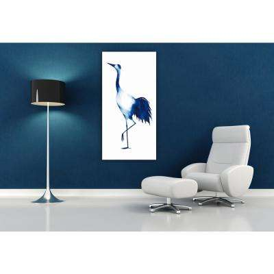 "48 in. x 24 in. ""Ink Drop Crane 2"" Frameless Free Floating Tempered Glass Panel Graphic Art"