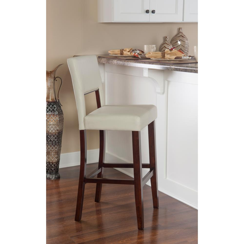 Home Decorators Collection Vega 24 in. White Cushioned Counter Stool