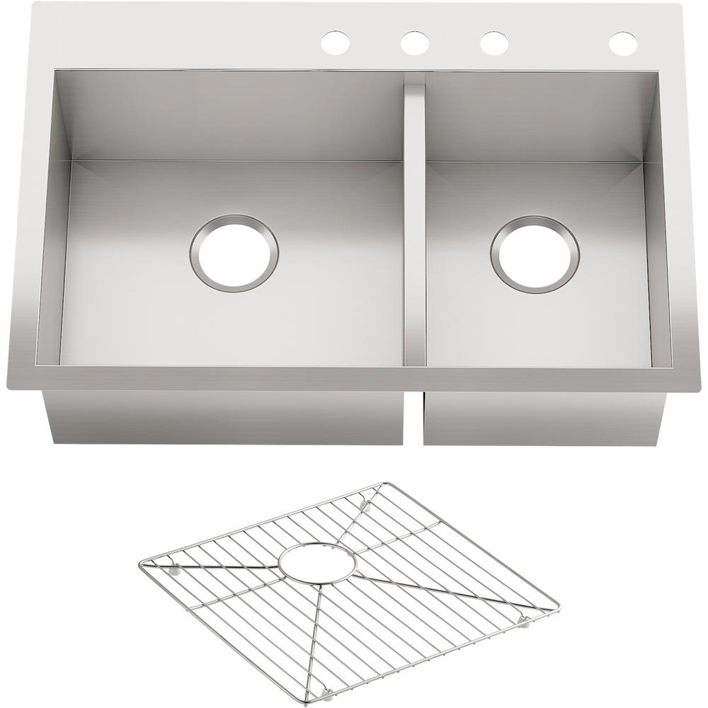 KOHLER Vault Dual Mount Stainless Steel 33 in  4-Hole 60/40 Double Bowl  Kitchen Sink Kit