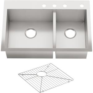 Vault Dual Mount Stainless Steel 33 in. 4-Hole Offset Double Bowl Kitchen Sink Kit with Basin Rack