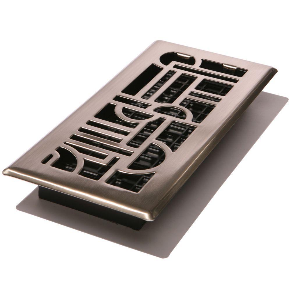 4 in. x 10 in. Steel Floor Register, Brushed Nickel