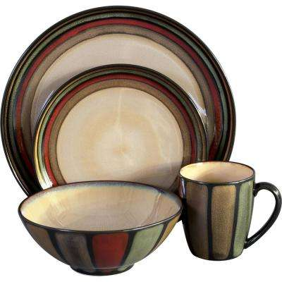 16-Piece Assorted Colors Flair Dinnerware Set
