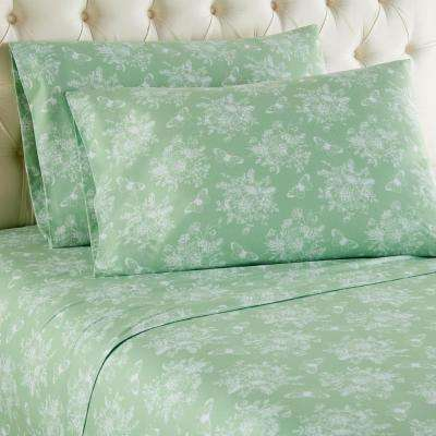 4-Piece Toile Celadon Cal King Printed Sheet Set