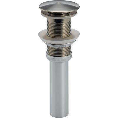 Push Pop-Up Drain Assembly in Stainless Less with Overflow Holes