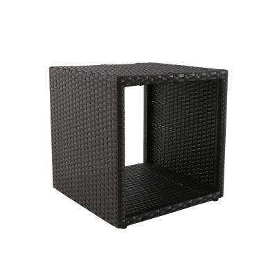 Brown Square Wicker Outdoor Side Table
