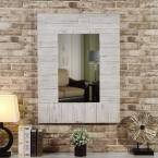 Medium Rectangle Aged White & Gray Mirror (40 in. H x 30 in. W)