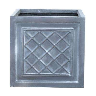 14 in. Cross Weave Wash Grey Cube Fiber-Clay Planter