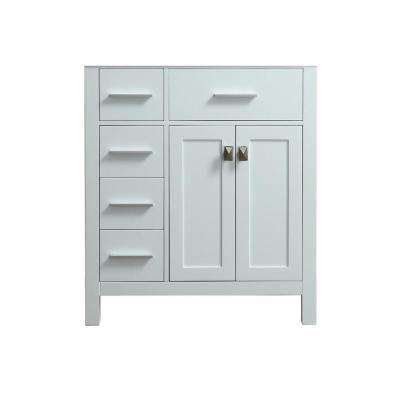 Bosconi 29.9 in. Main Cabinet Only in White with Fine Brushed Chrome, Antique Bronze Hardware