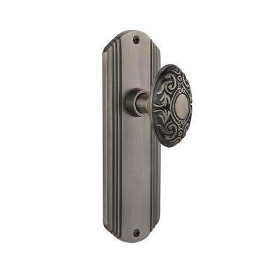 Deco Plate 2-3/4 in. Backset Antique Pewter Privacy Victorian Door Knob