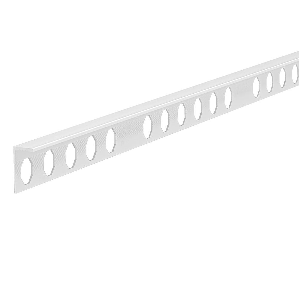 Emac Novosuelo White 9/16 in. x 98-1/2 in. Aluminum Tile Edging Trim