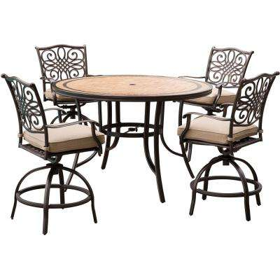 Monaco 5-Piece Aluminum Outdoor High Dining Set with Round Tile-Top Table and Swivel Chairs With Natural Oat Cushions