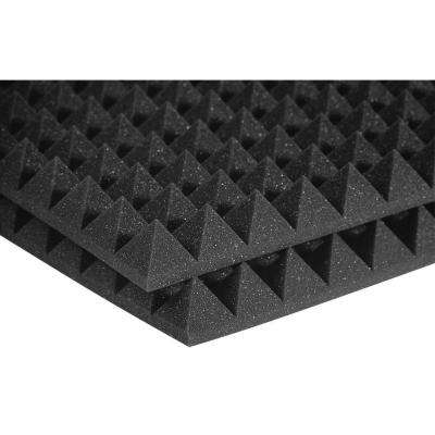 2 ft. W x 2 ft. L x 2 in. H Studio Foam Pyramid Panels - Charcoal (Half-Pack: 12 Panels per Box)