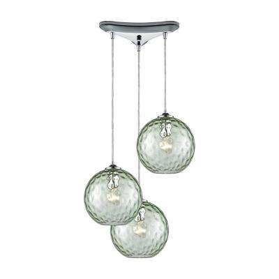 Globe green pendant lights lighting the home depot watersphere 3 light triangle pan in polished chrome with green hammered glass pendant aloadofball Choice Image
