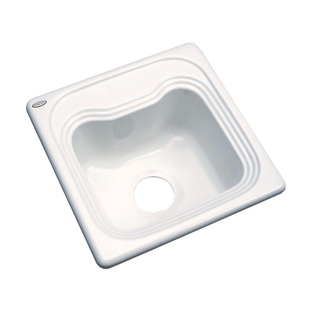 Oxford Drop-In Acrylic 16 in. Single Bowl Entertainment Sink in Biscuit