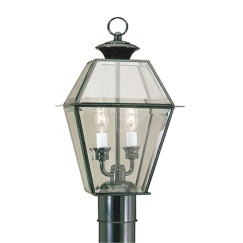 2-Light Outdoor Black Post Head with Clear Beveled Glass