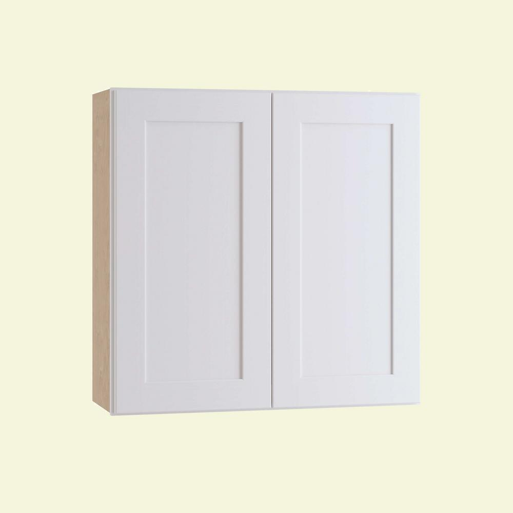 Home Decorators Collection Newport Assembled 27 in. x 30 in. x 12 in. Wall Kitchen Cabinet with Double Doors in Pacific White