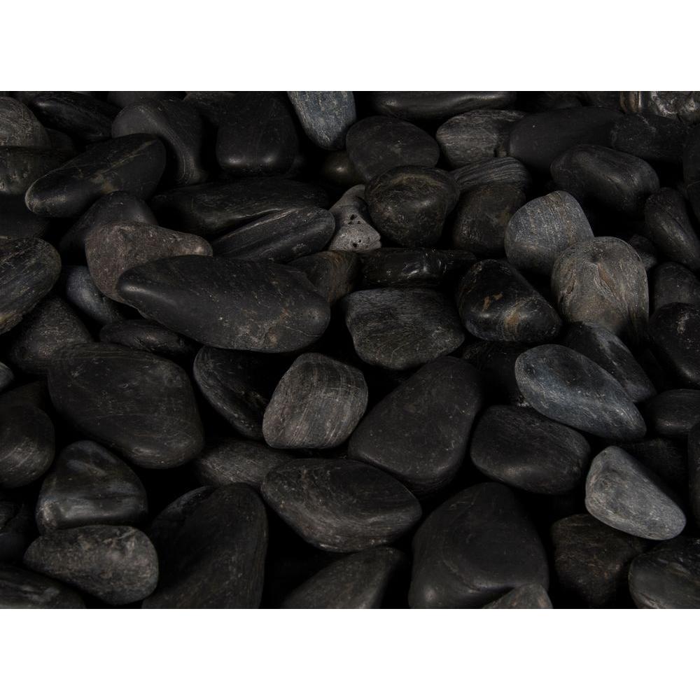 MS International 40 lb. Large Black Polished Pebbles Bag