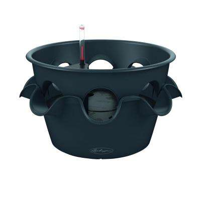 Trend Cascada Color 19 in. Round Slate Self-Watering Plastic Planter with 8 Additional Side Openings