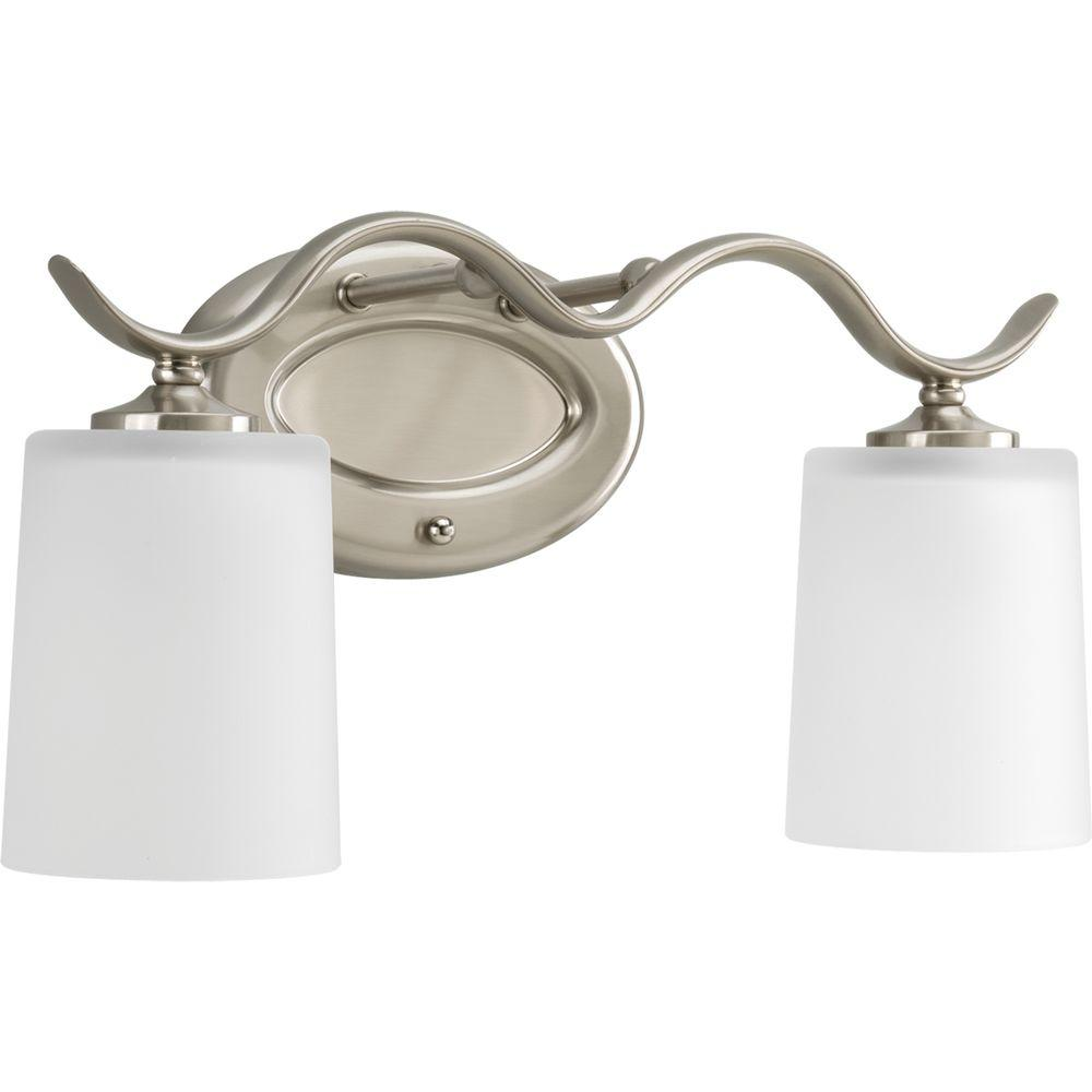 Polished Nickel Bathroom Vanity Light: Progress Lighting Inspire Collection 2-Light Brushed