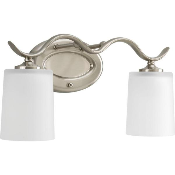 Inspire Collection 2-Light Brushed Nickel Bathroom Vanity Light with Glass Shades