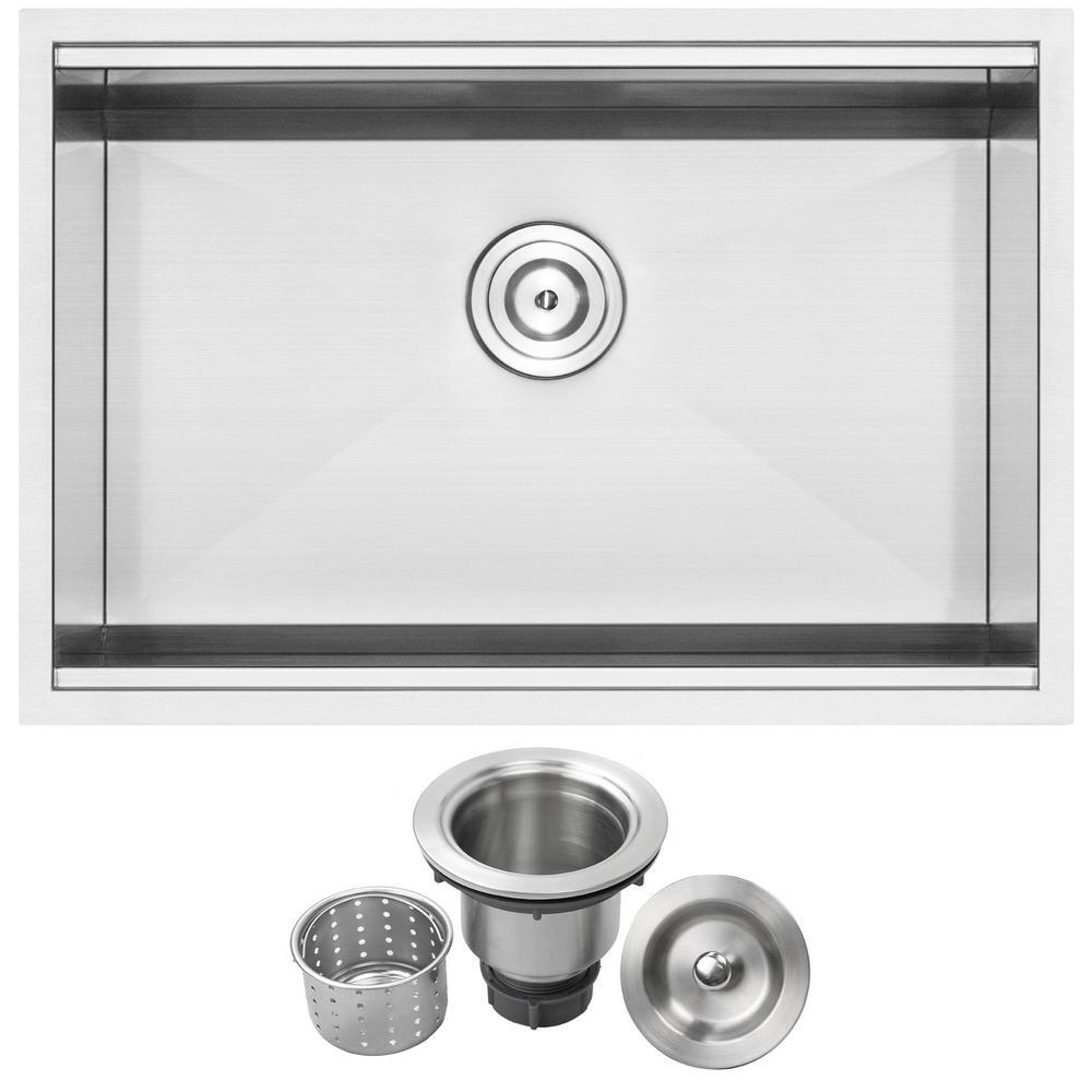 Bradford Zero Radius Undermount 16-Gauge Stainless Steel 28 in. Single Basin Kitchen Sink with Basket Strainer