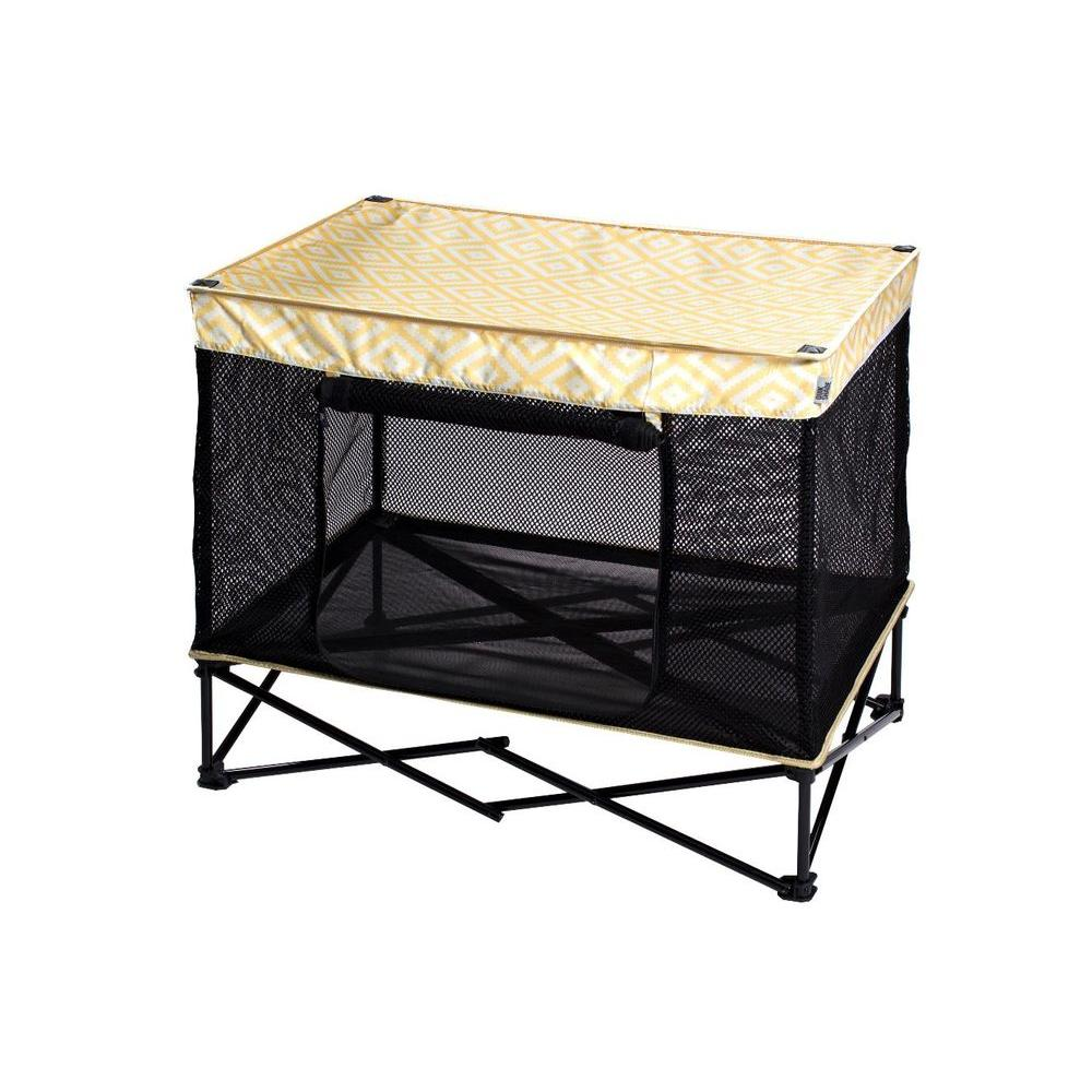 Quik Shade 36 in. W x 24 in. D Medium Yellow Diamond Pattern Instant Pet Kennel with Mesh Bed