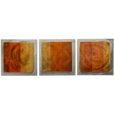 Brevium 12 in. x 38 in. Autumn Essence Metal Wall Art (Set of 3)