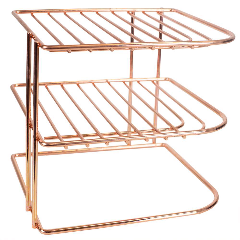3-Tier Copper Coated Steel Corner Organizing Storage Rack