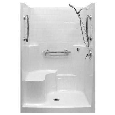 Imperial-SA 37 in. x 48 in. x 80 in. 1-Piece Low Threshold Shower Stall in White, Molded Seat, Accessories, Center Drain