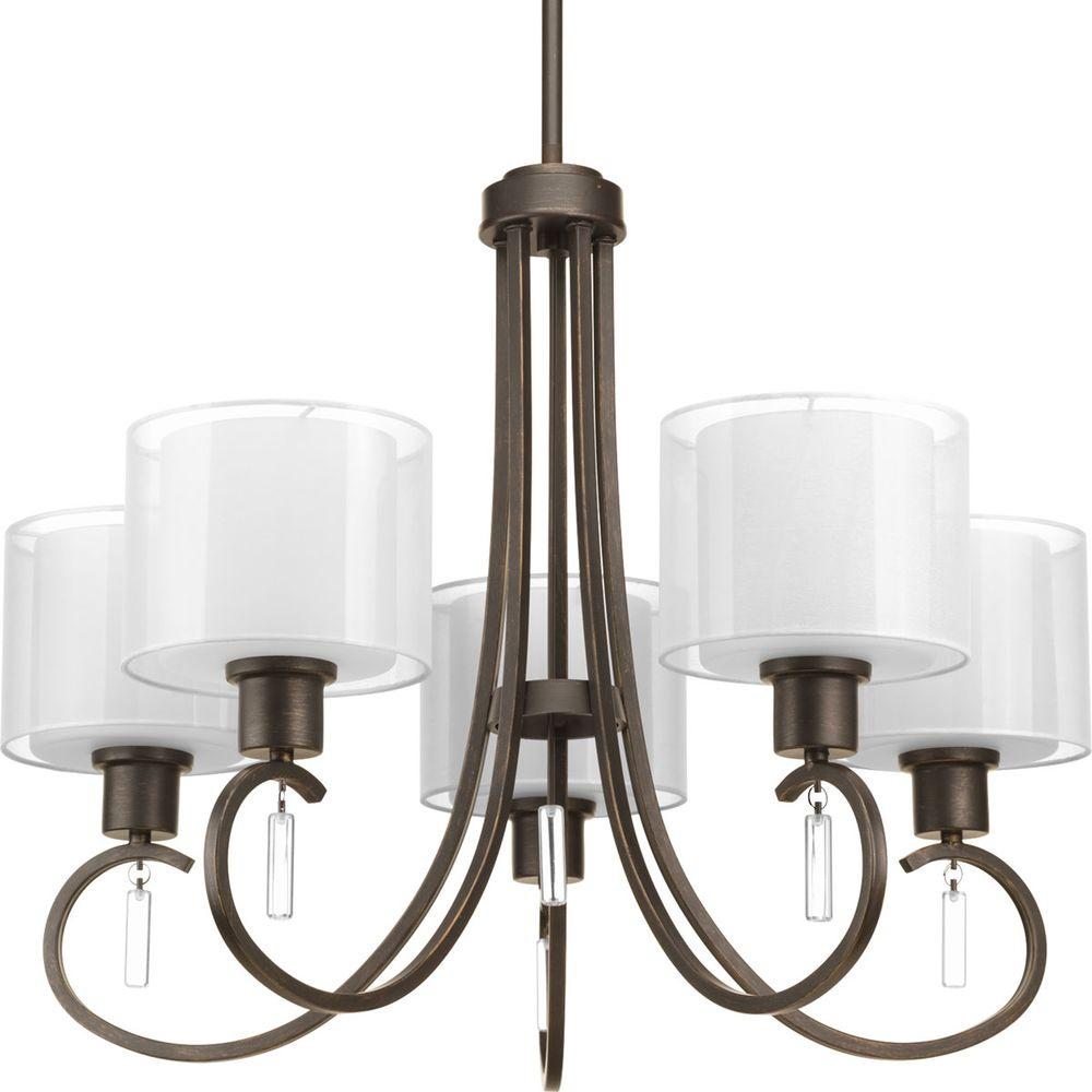 Progress Lighting Invite Collection 5 Light Antique Bronze Chandelier
