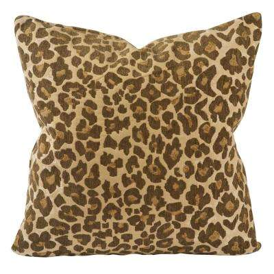 Classic Leopard Print Jaquard Throw Pillow