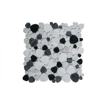 Rock Out White 10.75 in. x 10.75 in. Pebble Polished Marble Wall and Floor Mosaic Tile (0.802 sq. ft./Each)