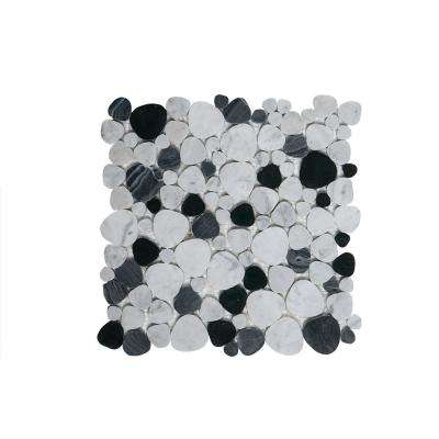 Rock Out White/Black Pebble 11 in. x 11 in. x 6 mm Honed Marble Mosaic Wall/Floor Tile