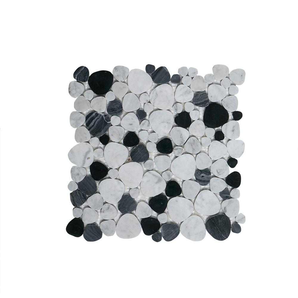 Jeffrey Court Rock Out White/Black Pebble 11 in. x 11 in. x 6 mm Honed Marble Mosaic Wall/Floor Tile