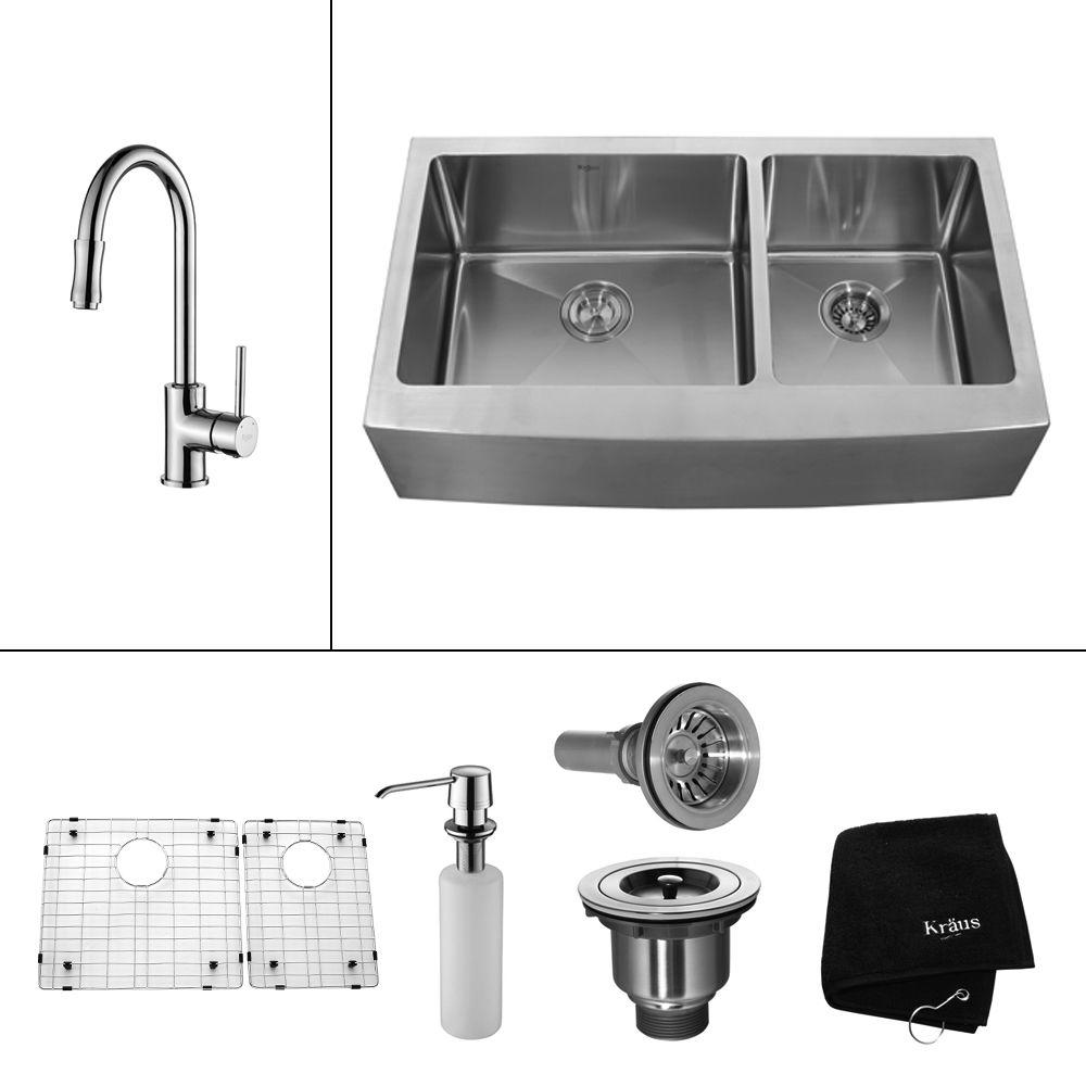 KRAUS All-in-One Farmhouse Apron Front Stainless Steel 36 in. Double Basin Kitchen Sink with Faucet and Accessories in Chrome
