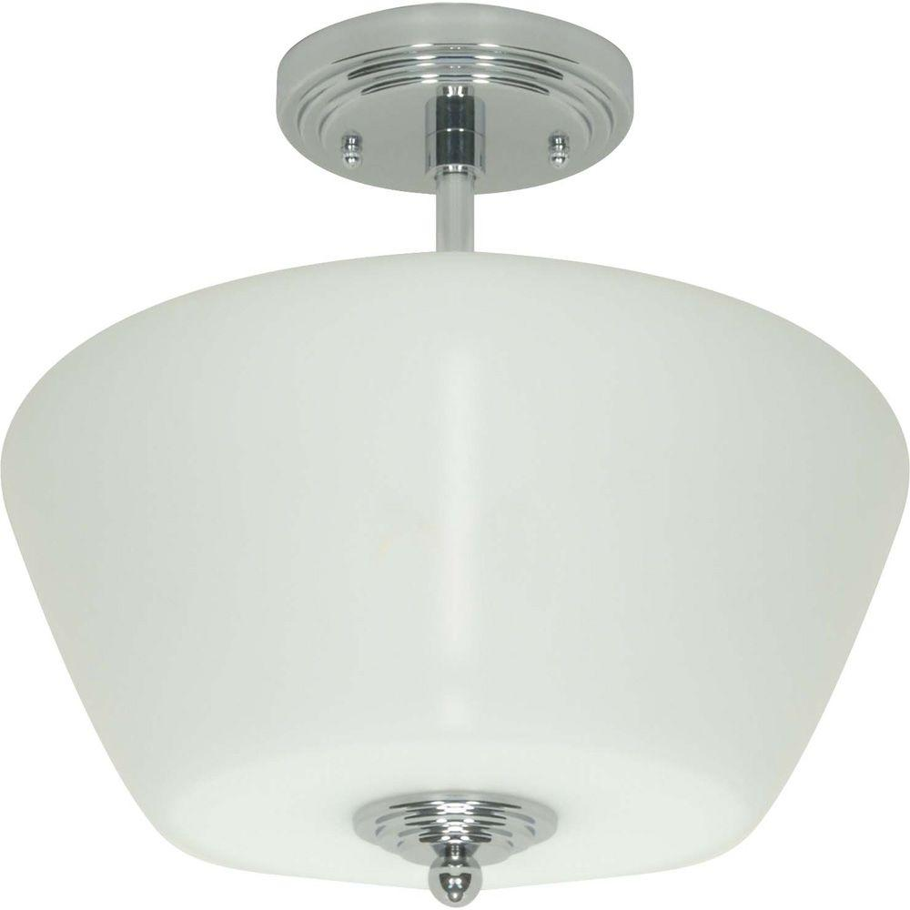Glomar Galileo Polished Chrome 3 Light Halogen Semi Flush Mount With Satin White Glass-DISCONTINUED