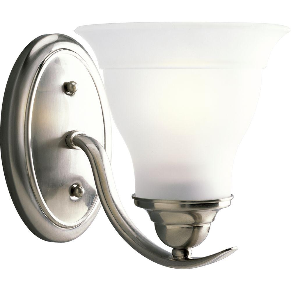 Progress Lighting Trinity Collection 1-Light Brushed Nickel Bath Sconce with Etched Glass Shade