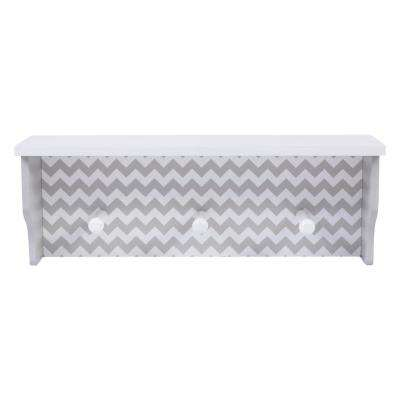Dove Gray Chevron 18 in. W x 5 in. D Decorative Wall Shelf