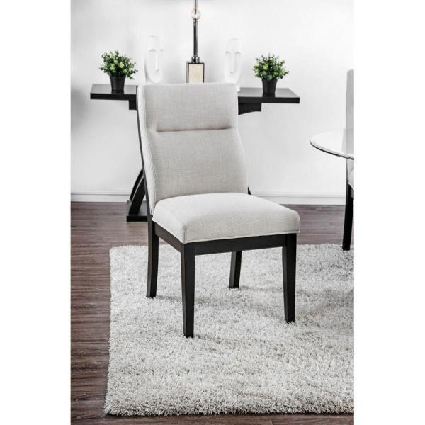 38 in. H Black and Gray Wooden Side Chair with Fabric Upholstered (Pack of Two)