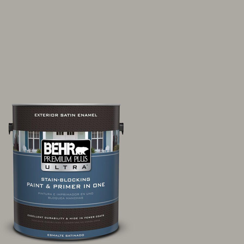 1 gal. #PPU24-10 Downtown Gray Satin Enamel Exterior Paint and Primer