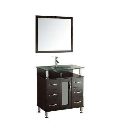 Cerviel 36 in. Vanity in Espresso with Glass Vanity Top in Clear, Mirror and Faucet