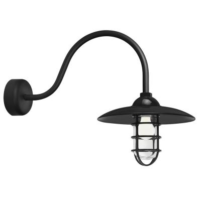 Retro Industrial 23 in. Arm 1-Light Black Clear Glass Lens Outdoor Wall Mount Sconce