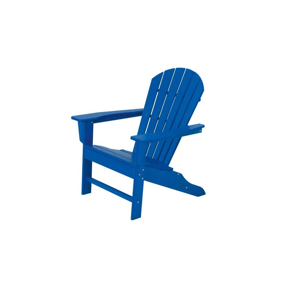 South Beach Pacific Blue Plastic Patio Adirondack Chair