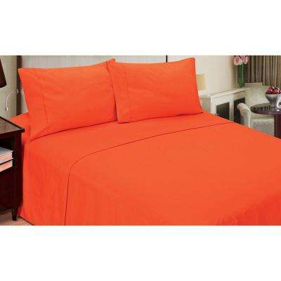 Jill Morgan Fashion Solid Orange Microfiber 4-Piece King Sheet Set