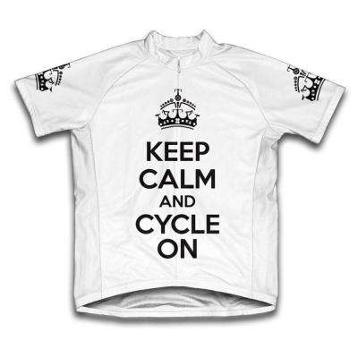 Small White Keep Calm and Cycle on Microfiber Short-Sleeved Cycling Jersey