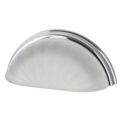 3 in. Center-to-Center Cup Crystal Frosted Fluted in Bright Chrome Drawer Pull