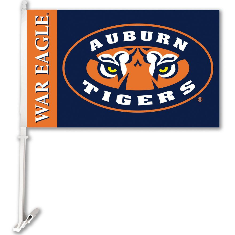 BSI Products NCAA 11 in. x 18 in. Auburn 2-Sided Car Flag with 1-1/2 ft. Plastic Flagpole (Set of 2)